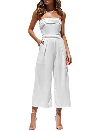 BerryGo Women's Sexy Off Shoulder Wide Leg Jumpsuit Sleeveless Long Pants Romper White-M