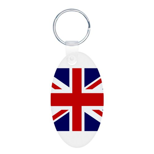 Aluminum Oval Keychain British English Flag HD