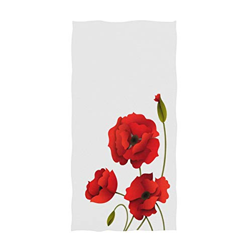- Naanle Stylish Beautiful Red Poppy Flowers Print Soft Guest Hand Towels for Bathroom, Hotel, Gym and Spa (16 x 30 Inches,White)