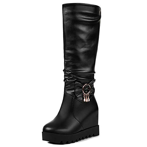 Wedge Pull Taoffen Half On 5 Heel Women's Boots Black 1q5wxpP5