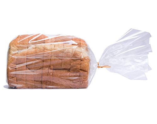 Wowfit Bread Poly Bags - Pack of 100 Entirely Transparent Clear Bakery Bags - FDA-Approved Bread Loaf Packing Bags with 100 Gold Twist Ties - 8 x 4 x 18-Inch Grocery Bread Bags