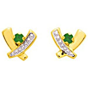 So Chic Bijoux © Boucles d'oreilles Femme Puces Bandes Croisées X Emeraude Vert & Oxyde de Zirconium Blanc Or Jaune 750/000 (18 carats)