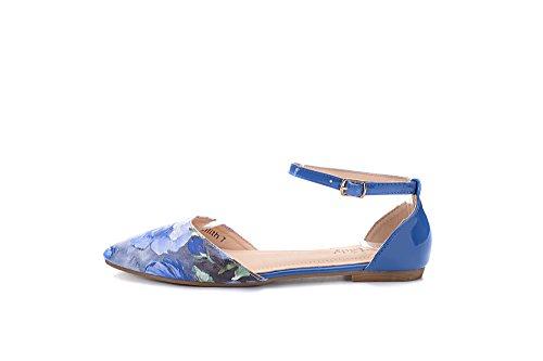 Mila Lady Lilith Fashion New Cinturino Alla Caviglia Punta A Punta Womans Dorsay Floral Flats, Nero 11 Blu