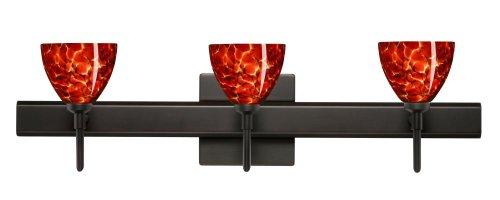 Besa Lighting 3SW-185841-BR-SQ 3X40W G9 Divi Wall Sconce with Canopy Garnet Glass, Bronze Finish