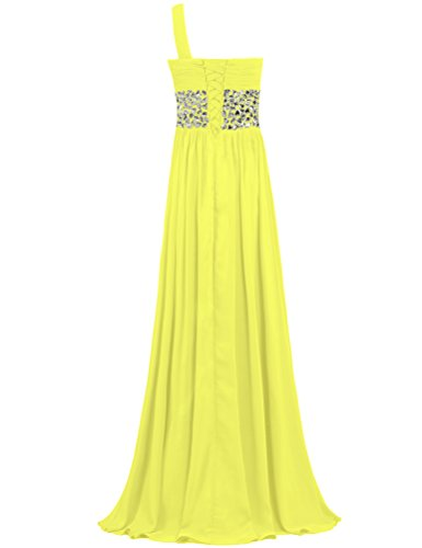 Crystal Gowns Yellow Prom Long ANTS Dresses Evening Chiffon One Shoulder wSI8EO