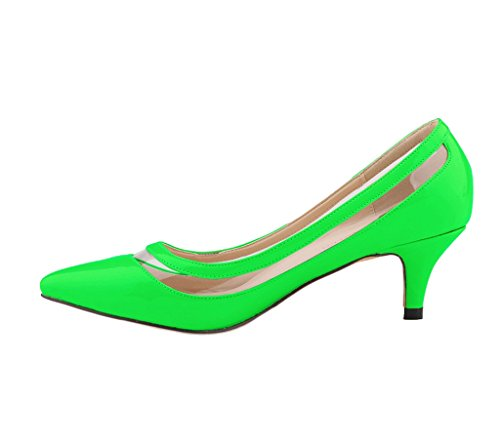 Katypeny Womens Elegant Pure Color Shallow Mouth Slip On Pointed Toe Kitten Heel Pump Shoes Green