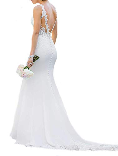 WeddingDazzle Bridal Dresses Sexy Backless Lace Appliques Mermaid Wedding Dresses for Bride US 6 White