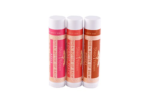 Shea Yeleen Lip Balm Trio Gift Bundle, Honey/Apple/Coconut Peach 100% Natural Lip Trio