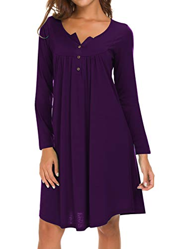 Eanklosco Long Sleeve Swing Dress Women Casual Loose Henley Shirt Dress (Purple, XL)