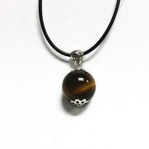 - Feng Shui Yellow Tiger Eye Cat Eye Bead Necklace Pendant for Good Luck