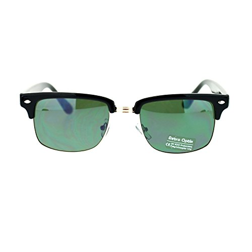 Price comparison product image Mens Narrow Rectangular Half Rim Wayfarer Clubmaster Sunglasses Black Gold