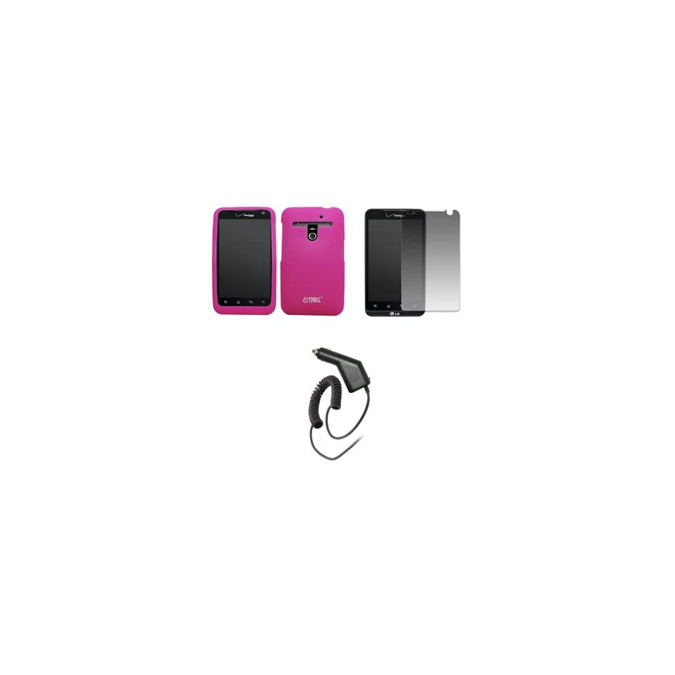 EMPIRE Hot Pink Silicone Skin Case Cover + Screen Protector + Car Charger (CLA) for Verizon LG Revolution VS910