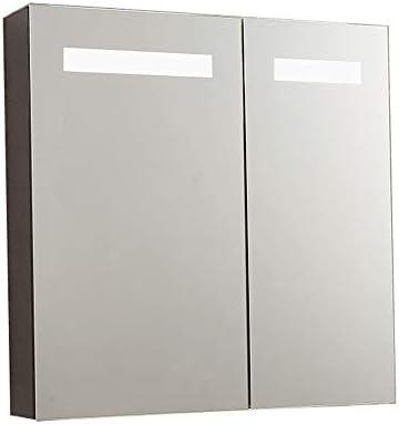 ミラーキャビネット LEDライトアップ浴室医学キャビネット、スロー閉じるヒンジ、バスルーム凹型または表面取付用のミラーキャビネット (Color : Silver, Size : 70x70x14cm)