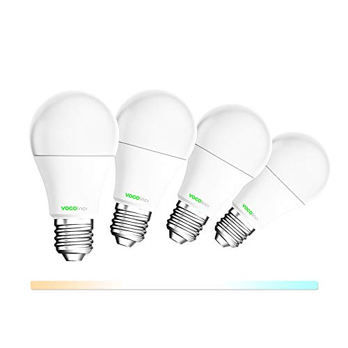 VOCOlinc L2 Smart LED Light Bulb (A19), 2200K-7000K Tunable Cool to Warm Whites, Adjustable, Dimmable, Works with Apple HomeKit, Alexa and Google Assistant, No hub required, Wi-Fi 2.4GHz (4 Pack)