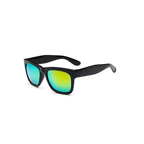 Garrelett Color Mirror Lens Large Square Horn Rimmed Sunglasses Reflective Sun Eyewear Eyeglasses Black Frame Yellow Lens for