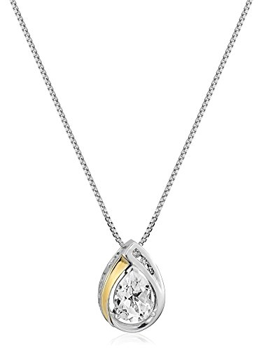 - Sterling Silver and 14k Yellow Gold White Topaz and Diamond Pendant Necklace, 18