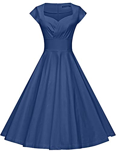 GownTown Womens Dresses Party Dresses 1950s Vintage Dresses Swing Stretchy Dresses Aqua Blue