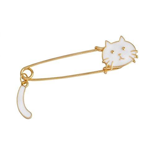 Pin Kitten Brooch (Mr.S Shop 1PC Cartoon Animal Kitten Brooch For Jacket T-shirt Bag Pin Badge Cute Jewelry (White))