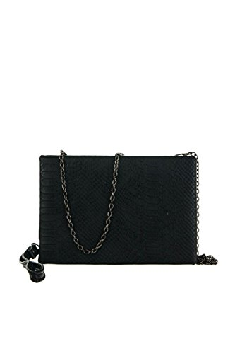 lcolette Metallic Snake Skin Accented Hardcase Clutch With Strap cls5739 (black)