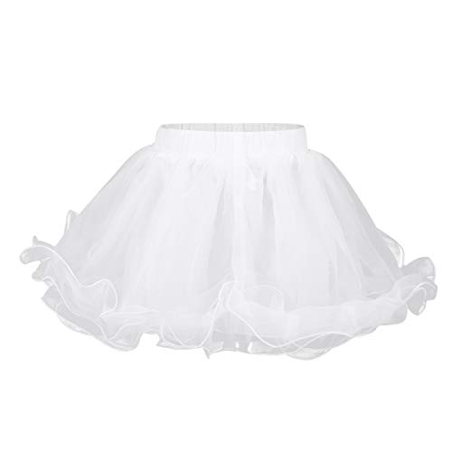 MSemis Kids Mini 3 Layers Wedding Flower Girls Petticoat Underskirt Crinoline Slip Dress Organza White 7-8 ()