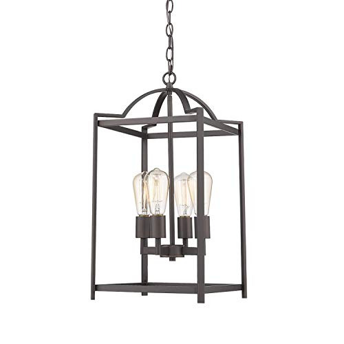 Emliviar 4 Light Foyer Chandelier, Lantern Pendant Light Hanging Light Fixture, Oil Rubbed Bronze Finish, P3038-4