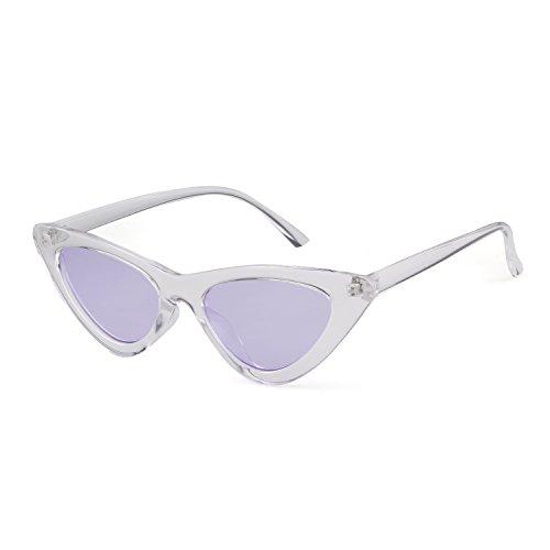 mujeres Cobain vintage Gafas de Lente ojo sol niñas de retro protección Gafas 1 estilo de gafas Marco sol de Blanco Púrpura Kurt ADEWU Transparente de gato para PnxcORRW