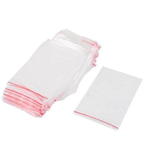 DealMux 100Pcs 6cmx9cm clair 2Mil poli en plastique avec sachets à fermeture zip verrouillage de la fermeture éclair du sac