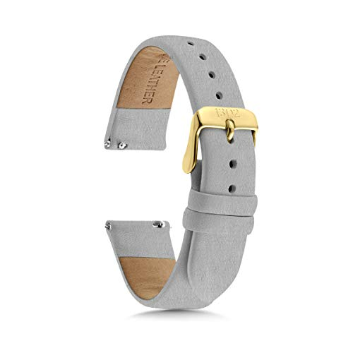 Women's Watch Bands, Women's Leather Watch Bands, 14mm, 18mm Easy Interchangeable Watch Band, Quick Release Pin, Gold Buckle, Fits Many Brands (14mm, Textured Grey)