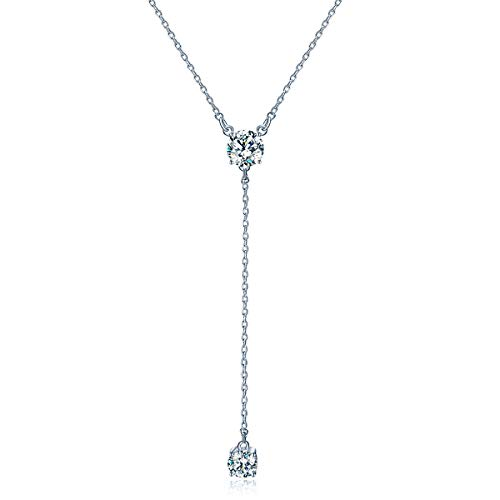 GAEA H Y Necklace for Women Sterling Silver with Swarovski Crystal,Long Tassel Simple Clavicle Women's Necklaces ()