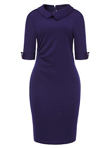 Womens Evening Wear (Women's Vintage One-Piece Dress Elbow Sleeve Cocktail Evening Dress Navy Small)