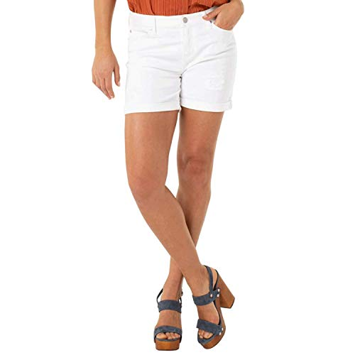Liverpool Women's Vicki Rolled-Cuff Shorts with Destruct Detail on Super Soft Stretch Denim in Bright White Bright White Shorts