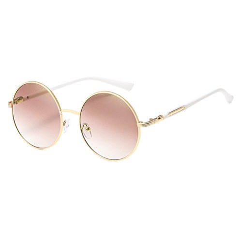 Zhuhaitf Gold gafas Con Round Polarized Fashionable Design Mirror Sunglasses Unisex estuche for Frames Oversized amp;brown de Womens Mens FxrFa