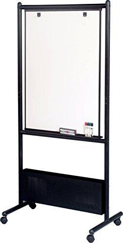 "Best-Rite Mobile Nest Easel, Black Frame, Double Sided Dura-Rite HPL Whiteboard, 72""H x 34.75""W x 24""D (781)"