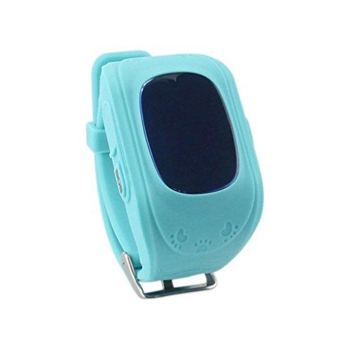 Techkoo Smart Watch für Kinder, 0,96 Zoll GPS Tracker(Wecker Stellen, Telefonieren, GPS Orten, fern reden, Schritte Zählen usw.) für iPhone, Samsung, Blau