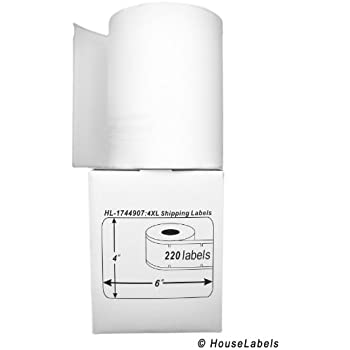 """DYMO-Compatible 1744907 Shipping and Postage Labels for 4XL (4"""" x 6"""") -- BPA Free! (6 Rolls; 220 Labels per Roll)"""