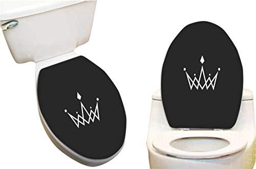 - Vinyl Toilet Set Cover Paper Decor for Crown Logo Monogram Mockup Royal Symbol Jewels in The Intersection Thin line Fashion Toilet Seat Sticker Vinyl Art13 x18