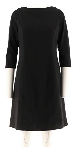 (Liz Claiborne NY Bateau Neck Ponte Knit Dress Black 4 New A267258)