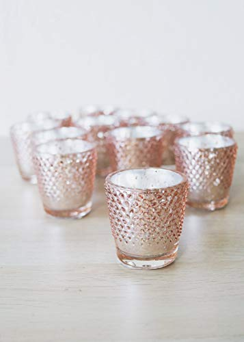 Floral Home Rose Gold Mercury Glass Hobnail Votive Cup - 2.75