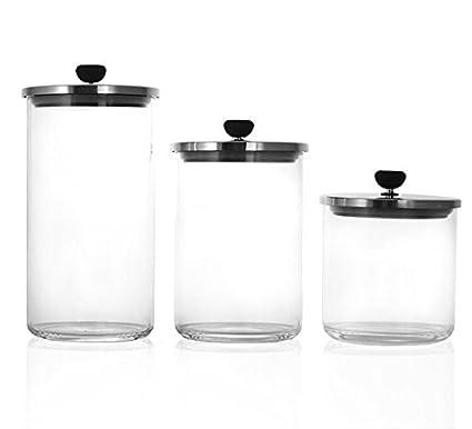 29eeec6700ac Amazon.com: Glass Storage Jar with Vacuum Sealed Lid (Set of 3 ...