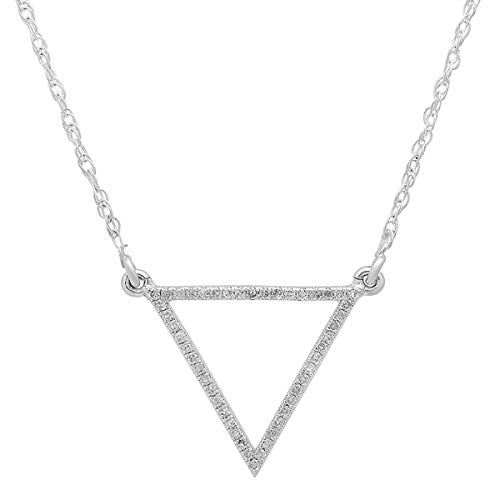 0.12 Carat (ctw) 10K White Gold Round White Diamond Ladies Triangle Pendant (Silver Chain Included)