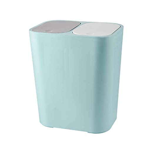 Bote de basura para el hogar Papelera rect/ángulo de pl/ástico doble con botones Compartimiento de reciclaje 12 litros Cubo de la basura cubo de la basura