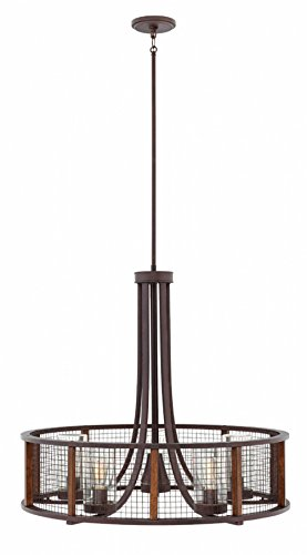Hinkley 29616IR Beckett Outdoor Chandelier, 5-Light 500 Total Watts, Iron Rust