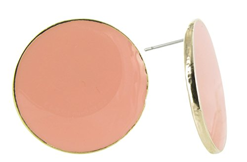 Large Disc Earrings (Large Round Coin Shaped Stud Earrings in Taupe Nude Enamel and Gold Plating)