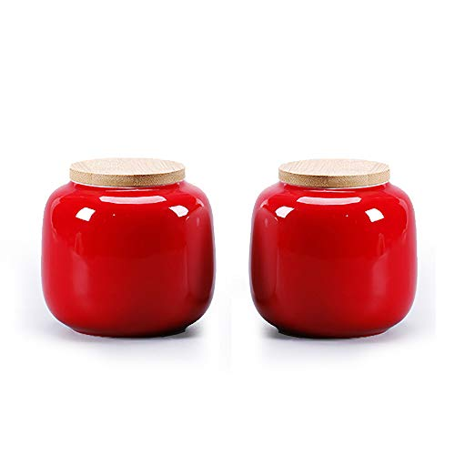 Decorated Red Ceramic Canister Tea Caddy Salt Box Seed Jars White Bottle Flower Pot Christmas Gift with Natural Bamboo Lid. - Garden Canister Tea