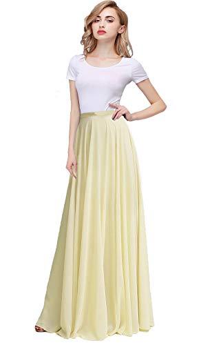 Honey Qiao Long Chiffon Bridesmaid Skirts Empire Formal Maxi Skirt Yellow