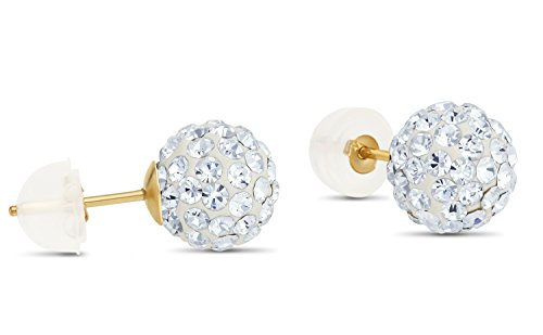 14k Yellow Gold Round Crystal Ball Stud Earrings with Silicone Covered Gold Pushbacks (8mm)