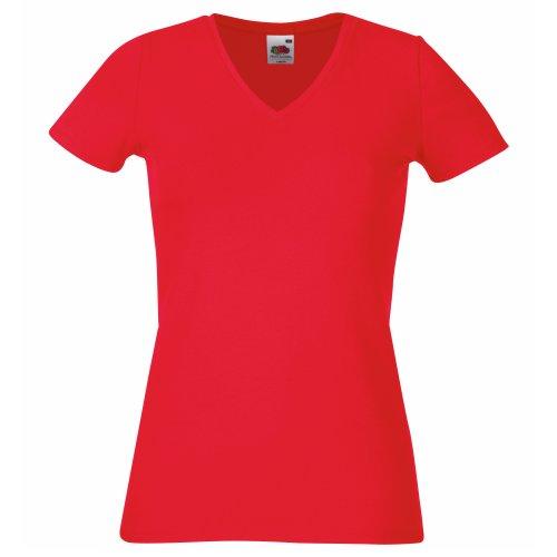 Fruit Of The Loom- Camiseta de manga corta con cuello en forma de V para mujer Rojo