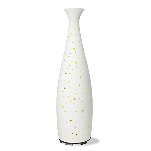 Sterline Ceramic Elegance Essential Oil Diffuser and Aromatherapy Diffuser with LED Changing Color Lights, Water Shortage Protection and Overheating Protection, 110ml Water Capacity