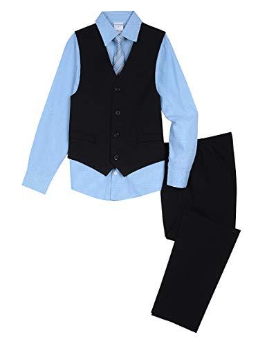 Van Heusen Boys' Big 4-Piece Formal Dresswear Vest Set, Black Shadow 10