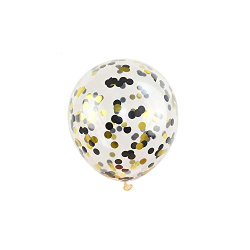 - 5pcs Gold Silver Confetti Balloons Happy Birthday Party Inflatable Helium Latex Balloon for Wedding Birthday Party Decorations,Black Gold Confetti